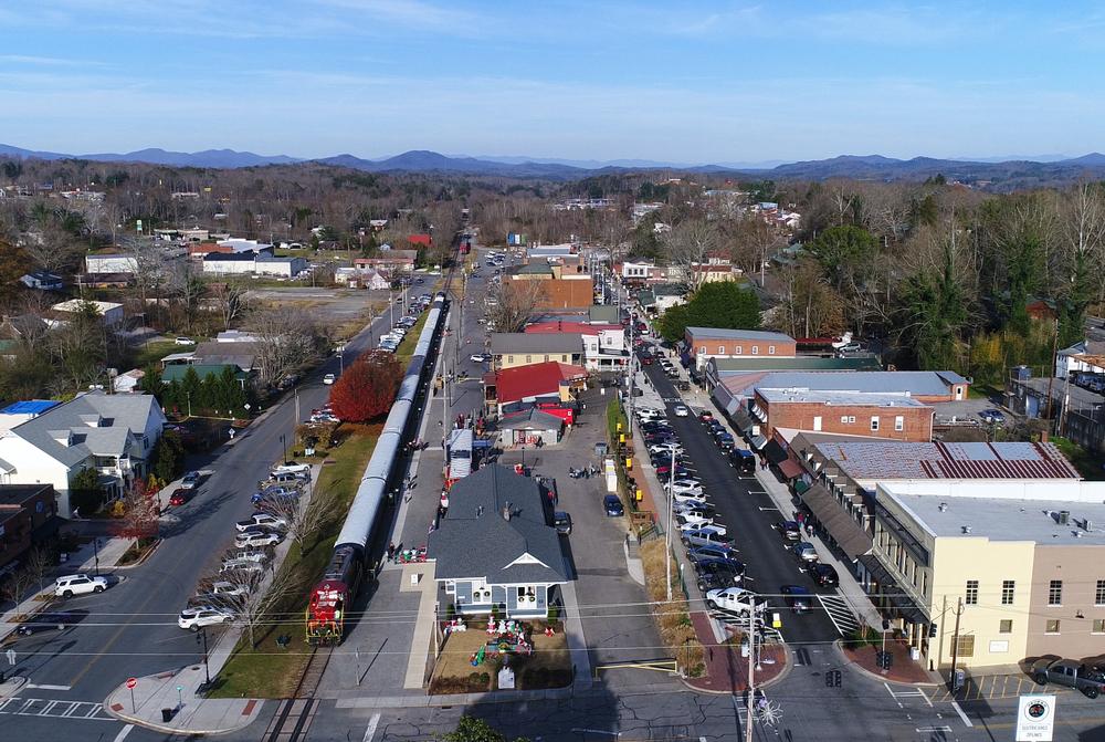 Aerial view of downtown Blue Ridge Georgia.
