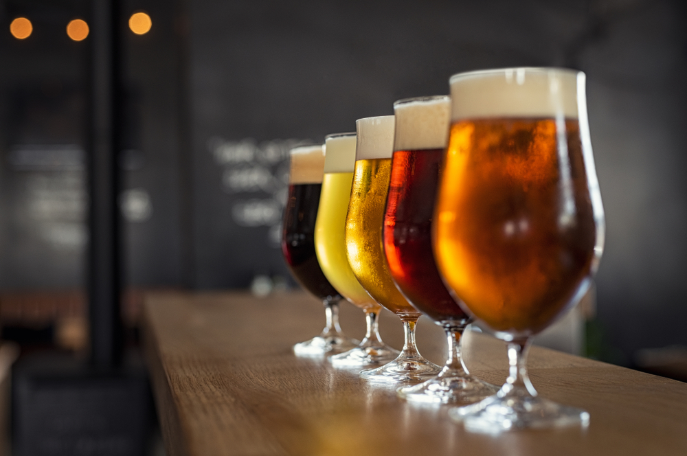 Five beer varieties representing Macon Beer Company, one of the best things to do in Macon.