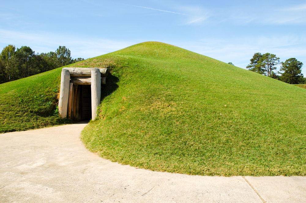 Entrance to the Earth Mound at Ocmulgee Mounds National Historical Park.