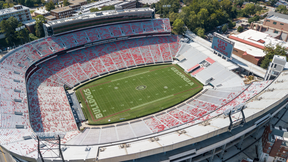 Aerial view of Sanford Stadium at the University of Georgia, one of the best things to do in Athens.