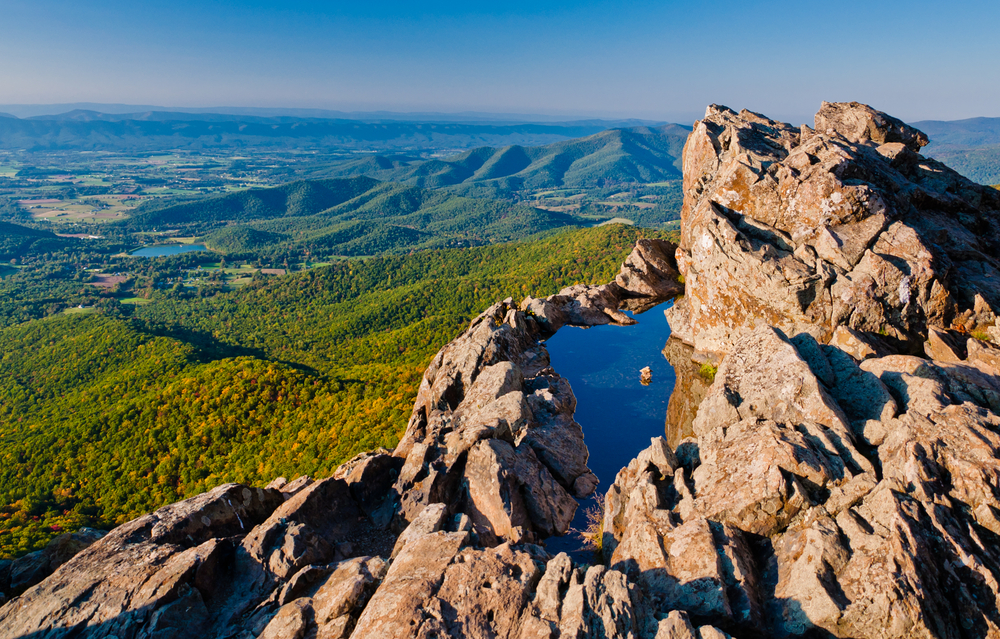 A picture of valleys and rolling mountains from the view of the peak of Stony Man Mountain.