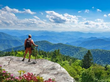 A person standing on a rocky outcropping on the side of a mountain. They are looking out at the Blue Ridge Mountains. You can see mountains covered in green trees and near the rock you can see pink flowers. The sky is bright blue and there are some clouds. It is one of the best Asheville hiking trails.