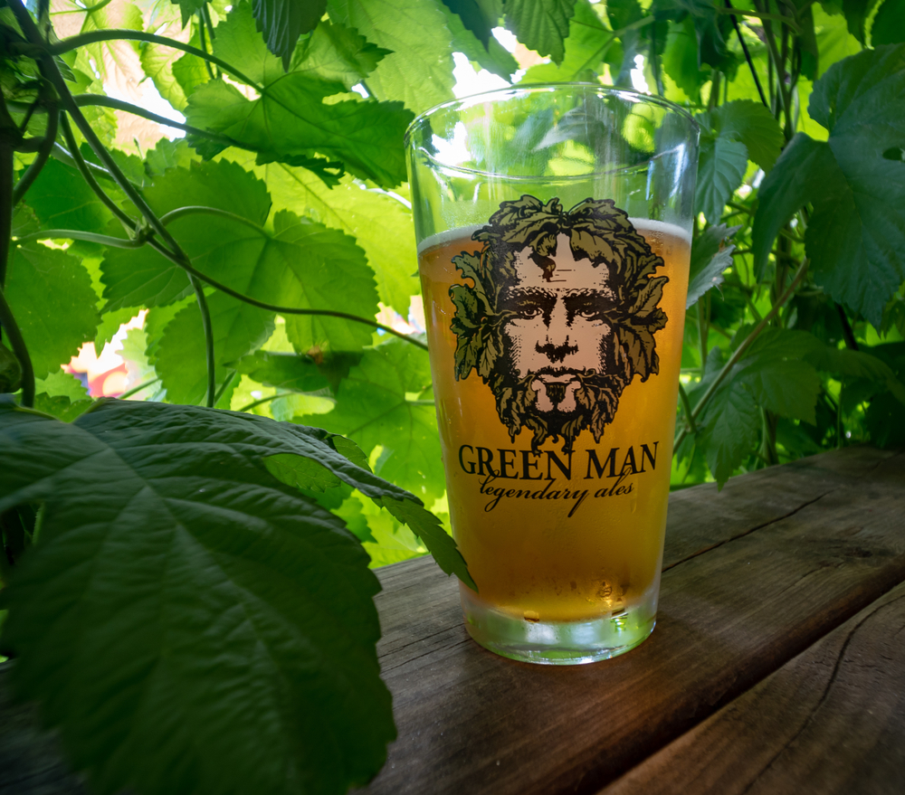 A pint of Green Man beer among leaves from a tree in an article about breweries in Asheville