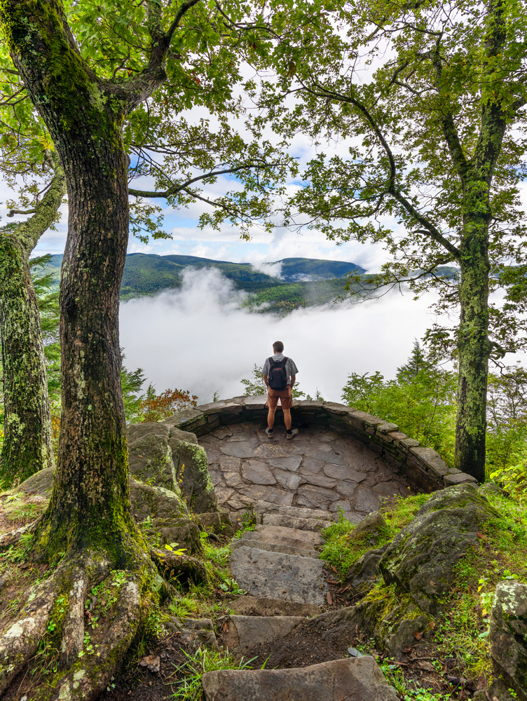 A person standing on a stone viewing platform on the Blue Ridge Parkway. There are clouds in the valley below the overlook, but you can see mountains just past the clouds. All around the viewing platform there are trees with green leaves.