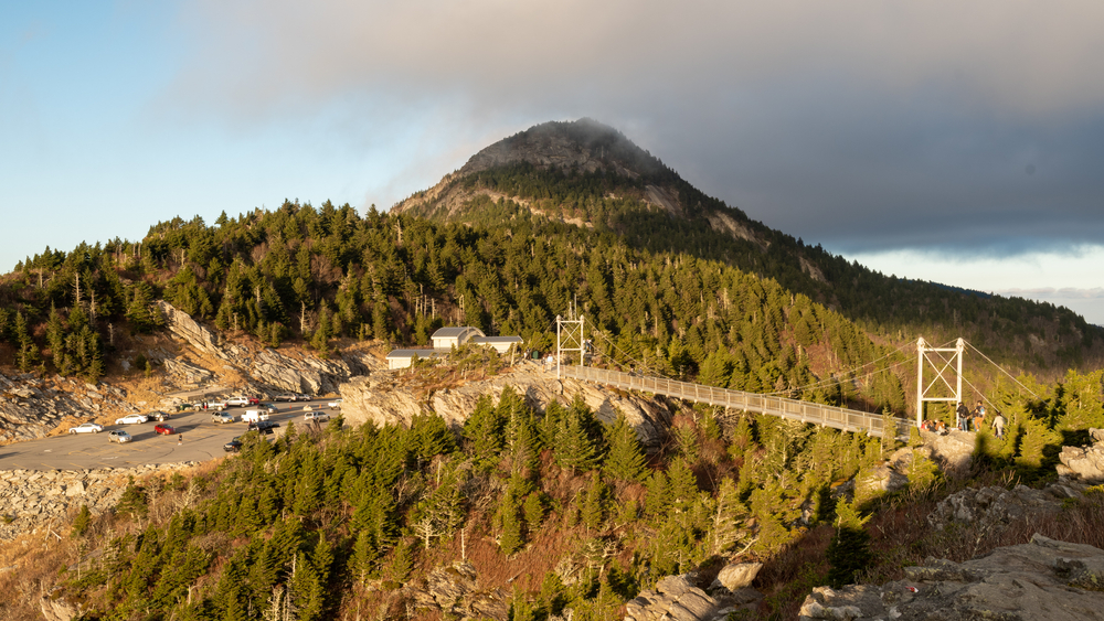 A view of the Mile High Swinging Bridge on Grandfather Mountain. You can see evergreen trees growing on the mountain. The bridge is suspended over the evergreen forest below it. There are lots of rocky surfaces and you can see people crossing the bridge. One of the coolest Asheville hiking trails.
