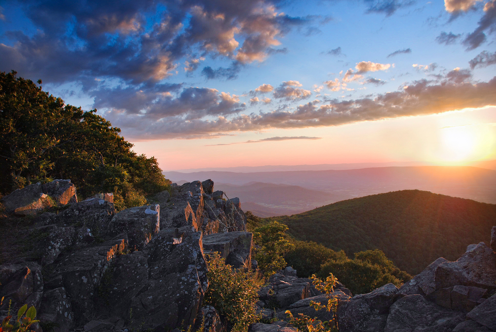 View from Hawksbill Mountain in Shenandoah national park.