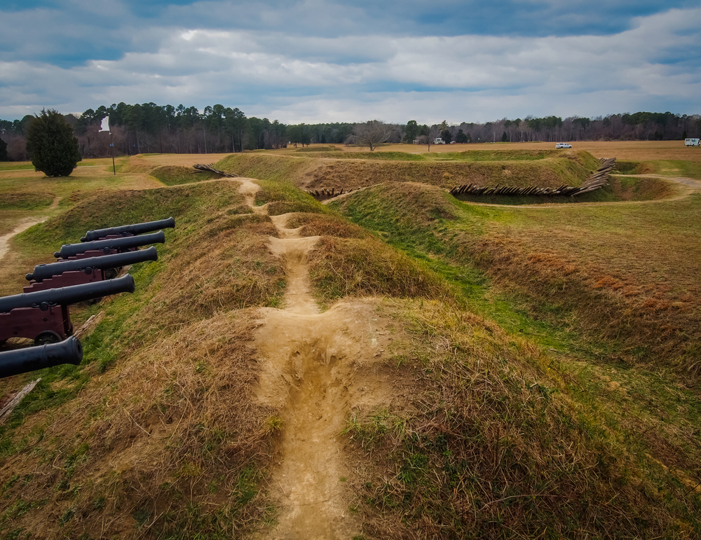 The earthworks at Yorktown Battlefield one of the best national parks in Virginia