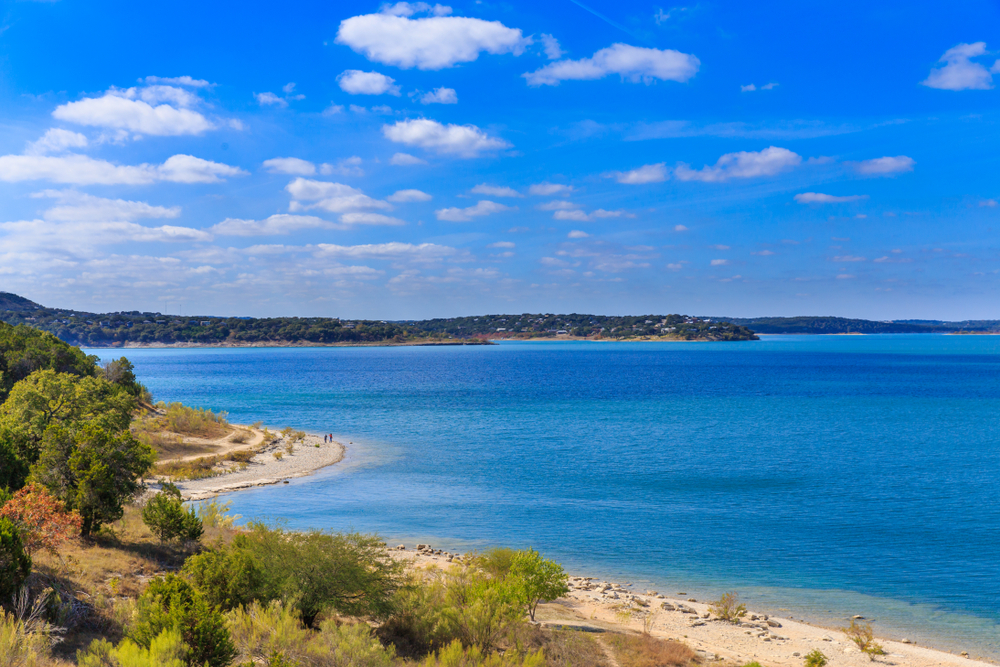 The blue waters of Canyon Lake, Texas.