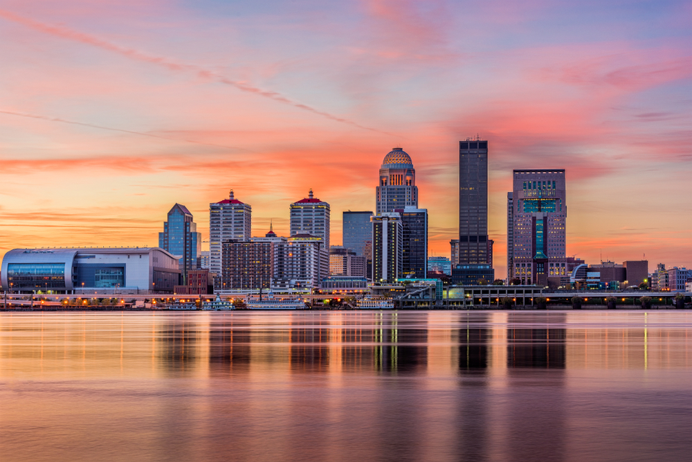 skyline at sunset on the ohio river