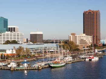 downtown norfolk on a sunny day with blue sky!