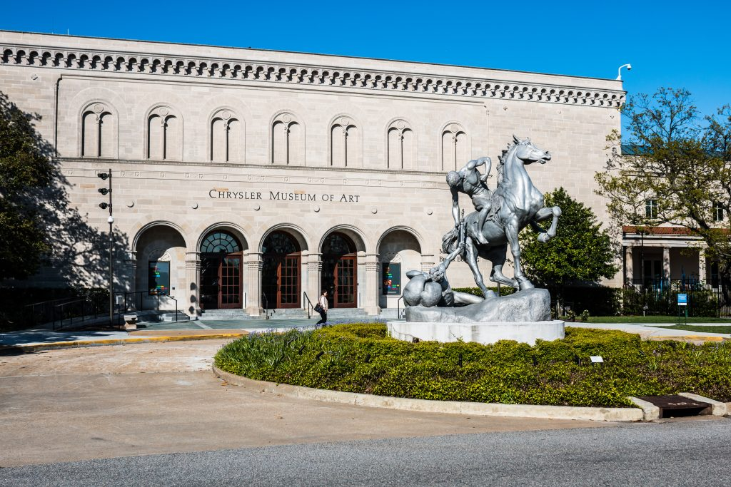 A statue stands in the rotunda outside of the Chrysler Museum of Art, one of the best things to do in Norfolk VA.