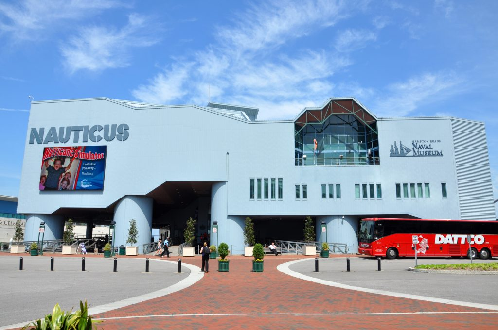 The Nauticus, one of the best things to do in Norfolk VA, sits on the largest naval base in the world
