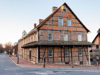 photo of a brick building in old town, one of the best things to do in winston salem NC
