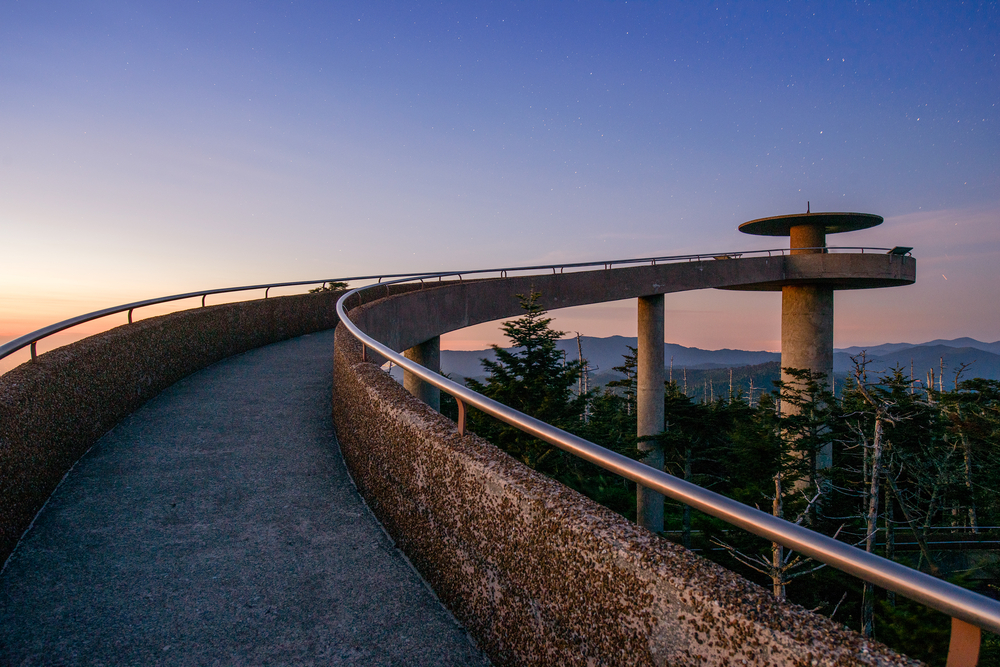 The observation deck at Clingman's Dome at sunset.