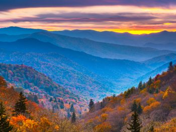 Sunset over the Smoky Mountains