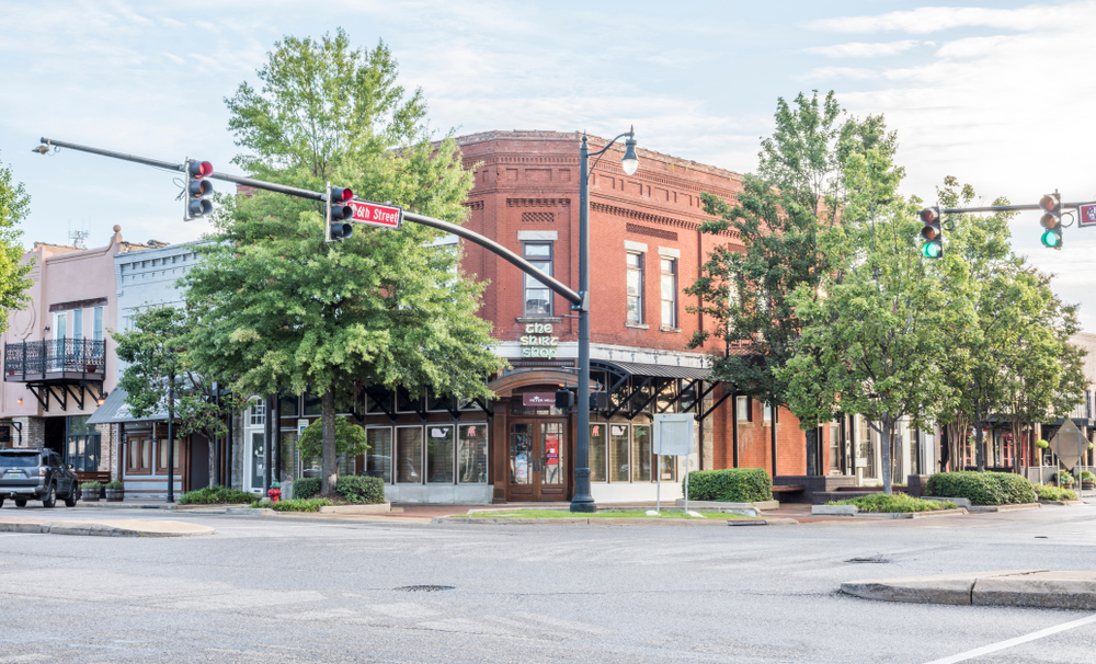 Storefront buildings in downtown Tuscaloosa.