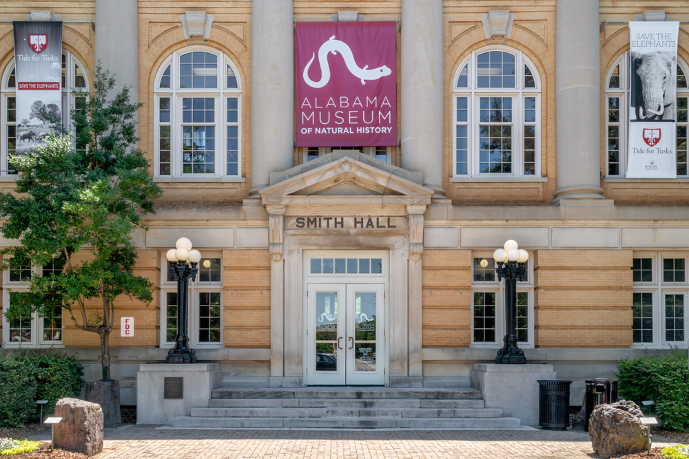The entrance facade to the Alabama Museum of Natural History, one of the best things to do in Tuscaloosa.
