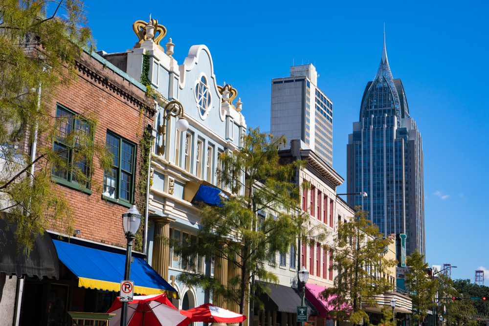The buildings in downtown Mobile from brick to colorful European styles
