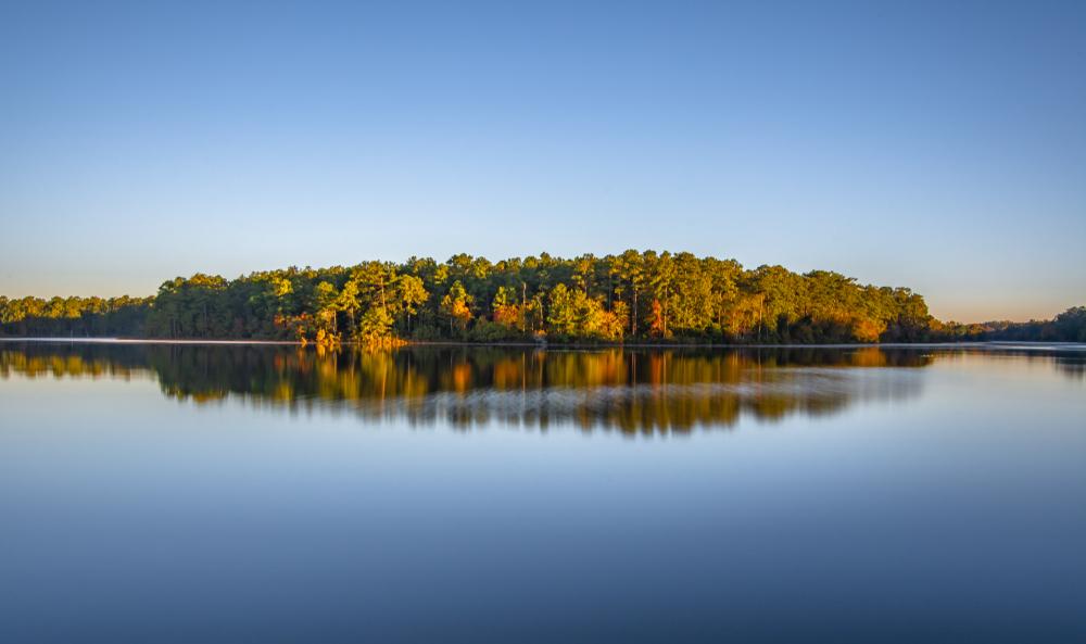 Photo of fall foliagae-covered trees reflecting off of Lake Rim near Fayetteville North Carolina