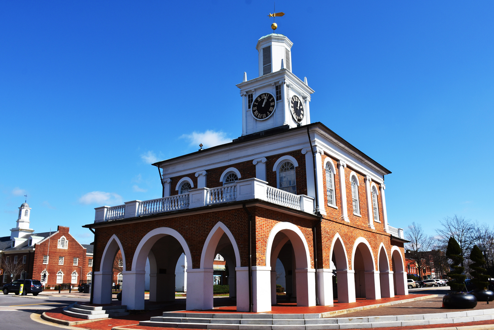 Photo of Market House, a historic brick building with a clock tower on top in Fayetteville North Carolina.