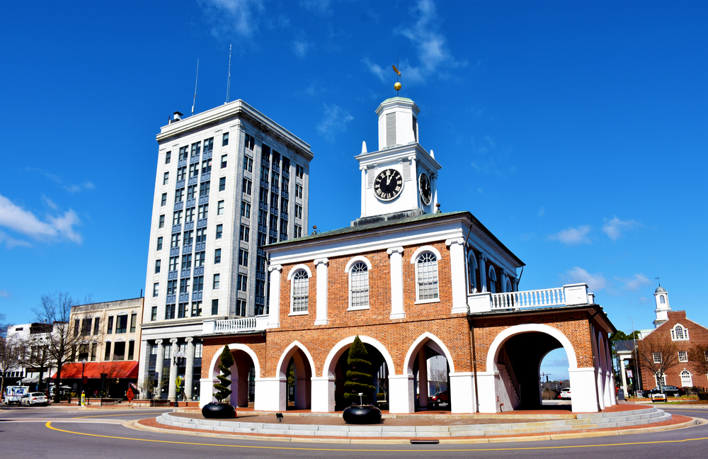 Photo of Market Hall with other downtown buildings in the background in Fayetteville North Carolina