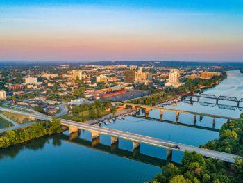 Aerial view of Augusta Riverwalk.